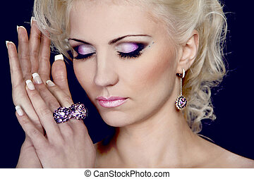 belle femme, bijouterie, beauty., soir, make-up., photo, mode