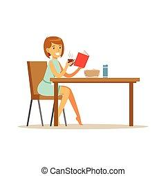 belle femme, bok, caractère, jeune, illustration, quoique, vecteur, petit déjeuner, lecture, avoir