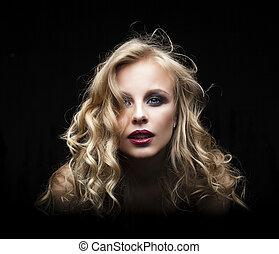 belle femme, bouclé, figure, cheveux, arrière-plan., femelle noire, blond, modèle