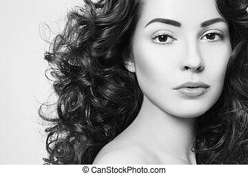belle femme, bouclé, jeune, longs cheveux, noir, portrait, blanc