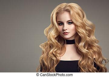 belle femme, bouclé, long, blonds, hair.