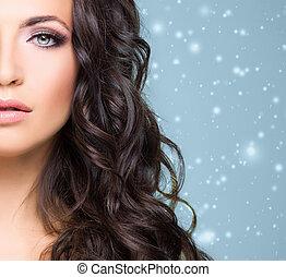 belle femme, brunette, fond, neigeux