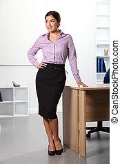 belle femme, bureau affaires