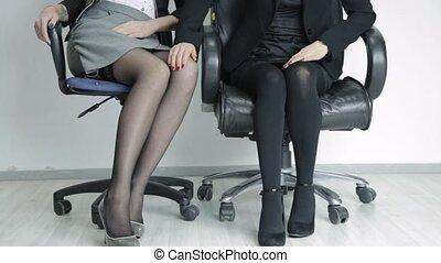 belle femme, bureau, bureau., complet, jeune, harceler,...
