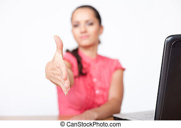 belle femme, bureau, business, séance, bureau, jeune, main, ...