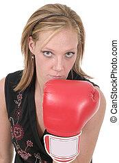 belle femme, business, boxe, 3, gants