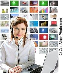 belle femme, business, helpdesk, écouteurs, technologie, roux