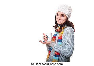 belle femme, café, tasse, isolé, jeune, blanc