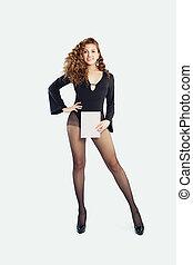 belle femme, chaussures, collants, vide, élevé, papier, noir, planche, fond, tenue, talons, blanc, carte