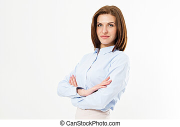 belle femme, chemise, classique, réussi, gens., -, bras, concept, poser, fond, élégant, traversé, blanc, amical