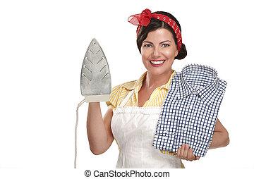 belle femme, chemise, femme foyer, repassage, heureux