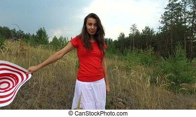 belle femme, chemise, rouges