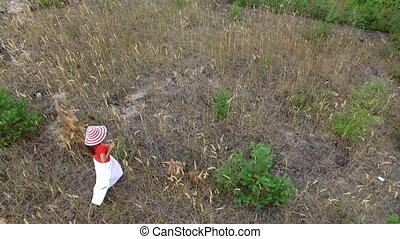 belle femme, chemise, rouges, promenade