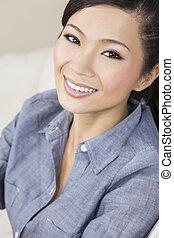 belle femme, chinois, oriental, asiatique, sourire