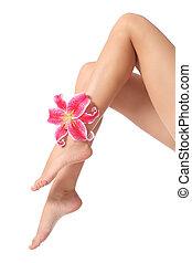 belle femme, ciré, lisser, fleur, jambes