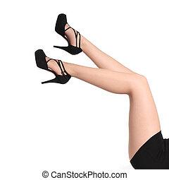 belle femme, collants, haut, long, talons, jambes