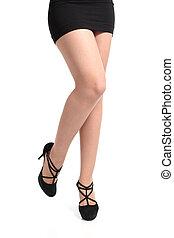 belle femme, collants, long, devant, talons, sexy, jambes, vue