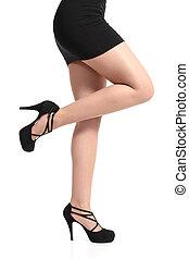 belle femme, collants, long, talons, sexy, jambes