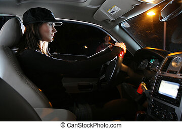 belle femme, conduite, voiture, jeune, nuit