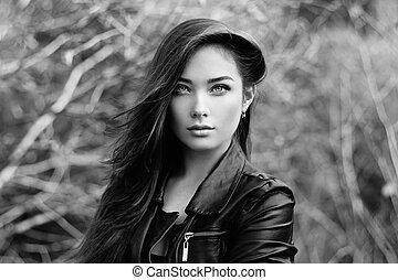 belle femme, cuir, jeune, veste, portrait
