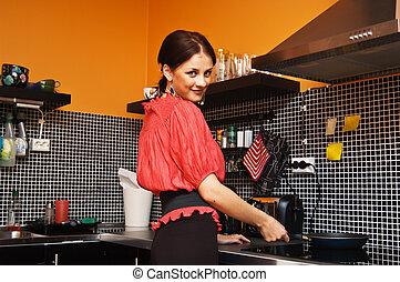 belle femme, cuisine