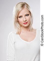 belle femme, décontracté, makeup., élégant, blonds