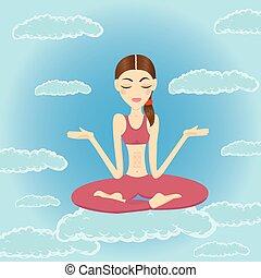 belle femme, délassant, ciel, méditer, jeune
