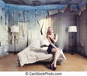 belle femme, dans, chambre à coucher
