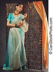 belle femme, dans, sari