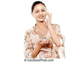 belle femme, demande, masque, asiatique, facial, portrait