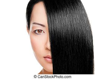 belle femme, directement, longs cheveux, élégant
