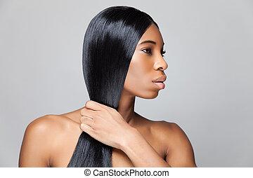 belle femme, directement, longs cheveux, noir