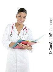 belle femme, docteur, à, coloré, dossiers