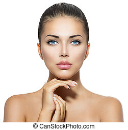 belle femme, elle, beauté, figure, toucher, portrait., spa