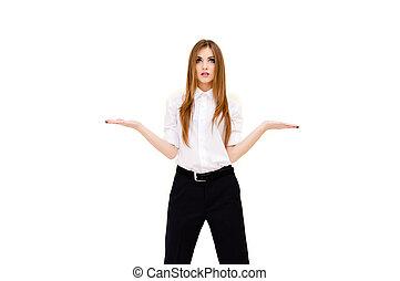 belle femme, elle, jeune, quelque chose, fond, mains, imaginaire, blanc, présentation