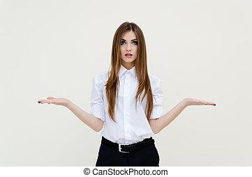 belle femme, elle, jeune, quelque chose, mains, imaginaire, présentation