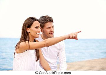 belle femme, elle, pointage, mer, pour, petit ami