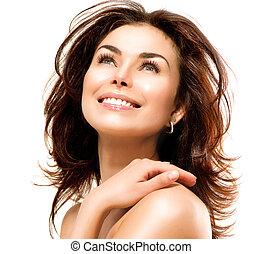 belle femme, elle, sur, jeune, skin., toucher, portrait, blanc