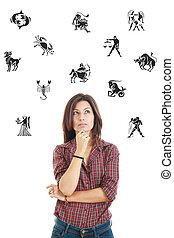belle femme, entouré, à, signes zodiaque, pensivement,...