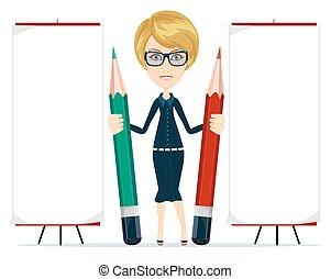 belle femme, espace, jeune, écriture, copie, pencil.