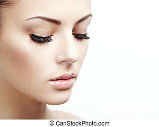 belle femme, face., parfait, maquillage