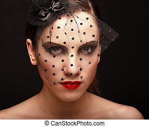 belle femme, fascination, figure, sombre, femme, portrait