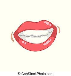 belle femme, femme, jeune, illustration, lèvres, vecteur, bouche, lustré, fond, émotif, sourire, dents, blanc