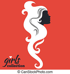 belle femme, filles, collection, silhouette.
