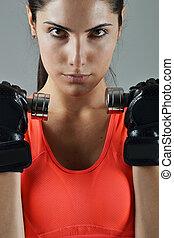 belle femme, fitness, élaboration