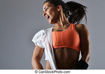 belle femme, fitness, danse