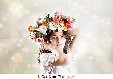 belle femme, fleur, couronne