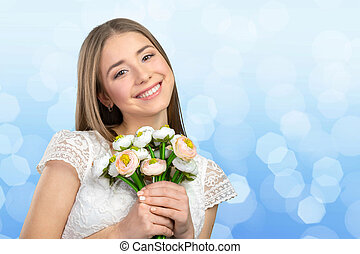 belle femme, fleurs, jeune