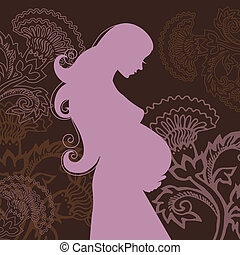 belle femme, fleurs, pregnant