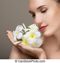 belle femme, flower., beauté, jeune, figure